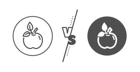Organic tested sign. Versus concept. Eco food line icon. Fair trade symbol. Line vs classic eco food icon. Vector