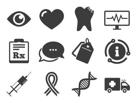 치아, 주사기 및 구급차 표지판. 할인 제안 태그, 채팅, 정보 아이콘입니다. 의학, 건강 관리 및 진단 아이콘입니다. Dna, 인식 리본 기호입니다. 고전적인 스타일의 표지판이 설정되었습니다. 벡터 벡터 (일러스트)