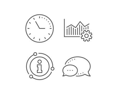 Operational excellence line icon. Chat bubble, info sign elements. Cogwheel sign. Linear operational excellence outline icon. Information bubble. Vector 向量圖像