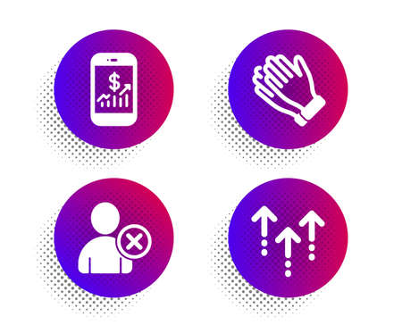 Clapping hands, Mobile finance and Delete user icons simple set. Halftone dots button. Swipe up sign. Clap, Phone accounting, Remove profile. Scrolling arrow. Business set. Vector Imagens - 135673218