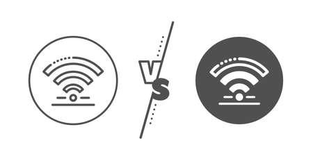 Wireless internet sign. Versus concept. Wifi line icon. Hotel service symbol. Line vs classic wifi icon. Vector