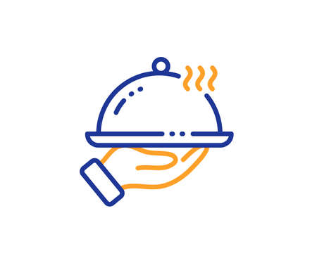 Dinner sign. Restaurant food line icon. Hotel room service symbol. Colorful outline concept. Blue and orange thin line restaurant food icon. Vector 向量圖像