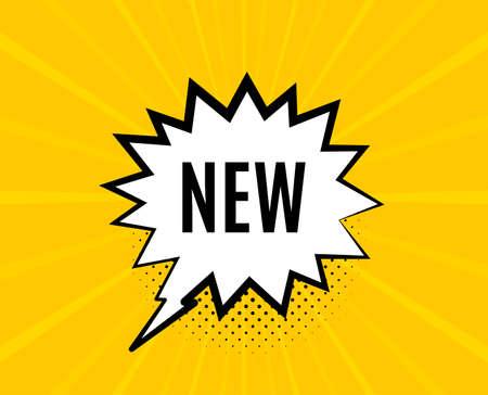 Neues Symbol. Chat-Sprechblase. Sonderangebot-Zeichen. Neuankömmling. Gelbe Vektorfahne mit Blase. Ankunftstext. Chat-Abzeichen. Bunter Hintergrund. Vektor