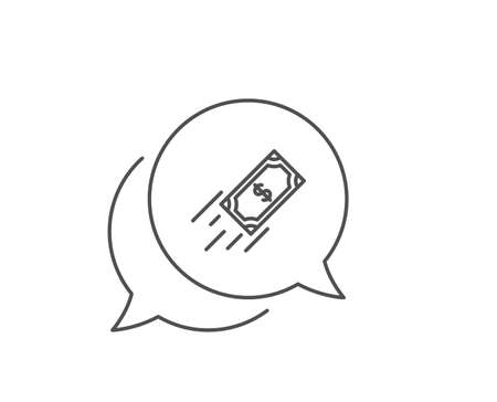 Fast payment line icon. Chat bubble design. Dollar exchange sign. Finance symbol. Outline concept. Thin line fast payment icon. Vector