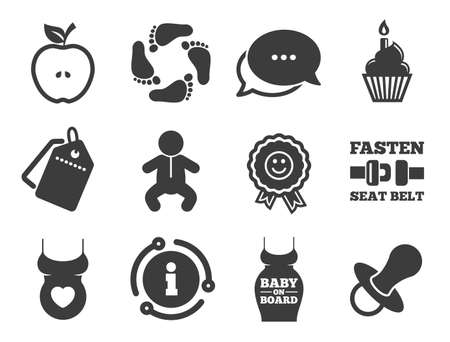 Apple, award and pacifier signs. Discount offer tag, chat, info icon. Pregnancy, maternity and baby care icons. Footprint, birthday cake and newborn symbols. Classic style signs set. Vector
