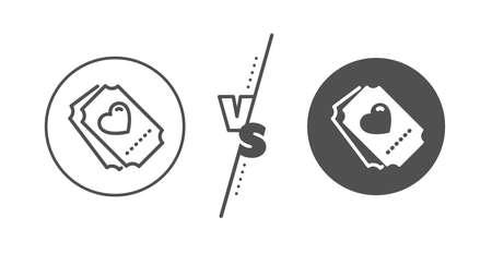 Heart emotion sign. Versus concept. Love ticket line icon. Valentine day symbol. Line vs classic love ticket icon. Vector