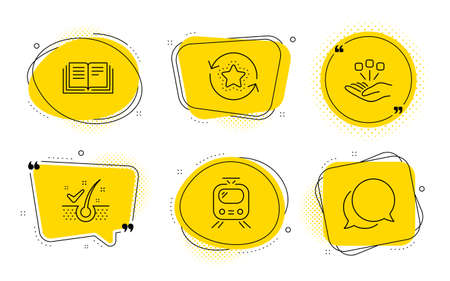 Anti-dandruff flakes, Loyalty points and Chat message signs. Chat bubbles. Education, Consolidation and Train line icons set. Instruction book, Strategy, Tram. Healthy hair. Technology set. Vector Stock Illustratie