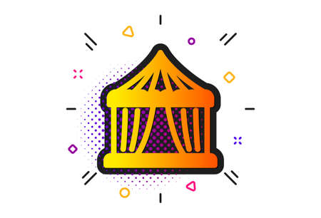 Circus tickets office sign. Halftone circles pattern. Amusement park tent icon. Classic flat circus tent icon. Vector Illustration