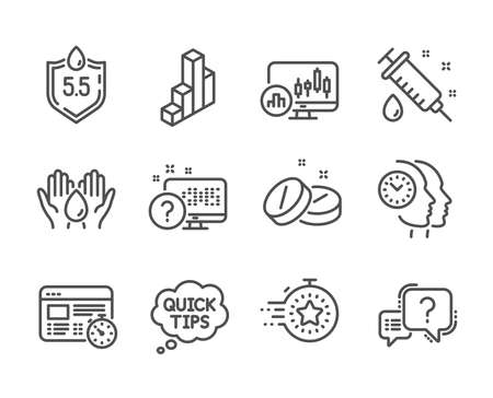 Set of Science icons, such as Question mark, Timer, Time management, Candlestick chart, Medical syringe, Online quiz, Ph neutral, 3d chart, Web timer, Safe water, Medical tablet. Vector