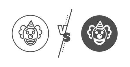 Amusement park funnyman sign. Versus concept. Clown line icon. Line vs classic clown icon. Vector