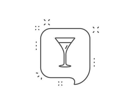 Martini glass line icon. Chat bubble design. Wine glass sign. Outline concept. Thin line martini glass icon. Vector