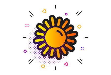 Hot weather sign. Halftone circles pattern. Sun icon. Summer symbol. Classic flat sun icon. Vector