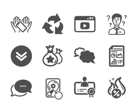 Set of Technology icons, such as Certificate, Recovery hdd, Scroll down, Video content, Hot loan, Recycle, Messenger, Support consultant, Smartphone holding, Report document, Dots message. Vector