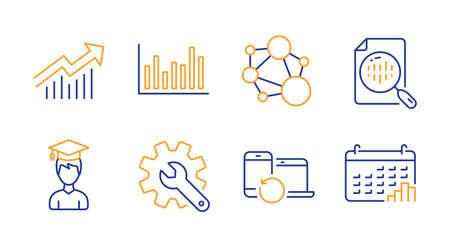 Recovery devices, Bar diagram and Analytics chart line icons set. Customisation, Integrity and Demand curve signs. Student, Calendar graph symbols. Backup data, Statistics infochart. Vector Vettoriali