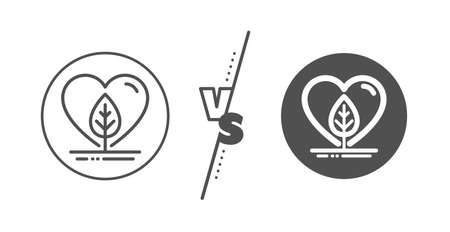 Organic tested sign. Versus concept. Local grown line icon. Fair trade symbol. Line vs classic local grown icon. Vector