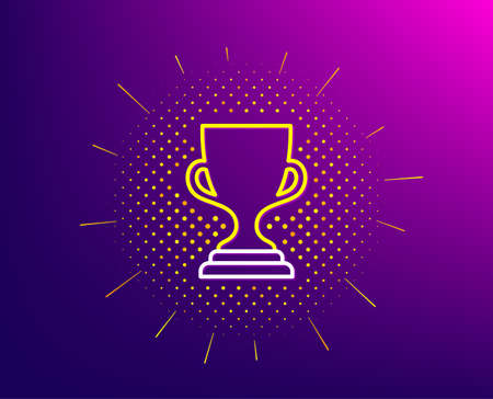 Award cup line icon. Halftone pattern. Winner Trophy symbol. Sports achievement sign. Gradient background. Award cup line icon. Yellow halftone pattern. Vector