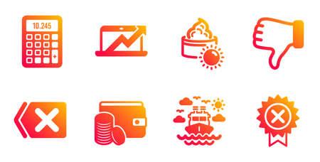 Rechner, Hand nicht mögen und Liniensymbole entfernen. Verkaufsdiagramm, Zahlungsmethode und Sonnencreme-Schilder. Schiffsreisen, Medaillensymbole ablehnen. Abrechnungsgerät, Daumen runter. Vektor