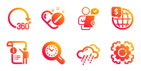 360 degrees, Medical pills and Time management line icons set. World money, Customer survey and Manual doc signs. Rainy weather, Seo gear symbols. Full rotation, Drugs. Science set. Vector