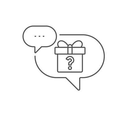 Gift box with Question mark line icon. Chat bubble design. Present or Sale sign. Birthday Shopping symbol. Package in Gift Wrap. Outline concept. Thin line secret gift icon. Vector 向量圖像