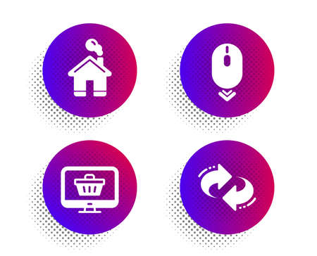 Home, Web shop and Scroll down icons simple set. Halftone dots button. Refresh sign. House building, Shopping cart, Mouse swipe. Rotation. Technology set. Classic flat home icon. Vector Illusztráció