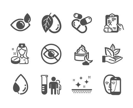 Set of Healthcare icons, such as Medical analyzes, Leaf dew, Clean skin, Nurse, Mineral oil, Organic product, Night cream, Face biometrics, Not looking, Eye drops, Prescription drugs. Vector