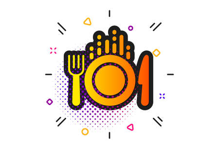 Cutlery sign. Halftone circles pattern. Food icon. Fork, knife symbol. Classic flat food icon. Vector Ilustração