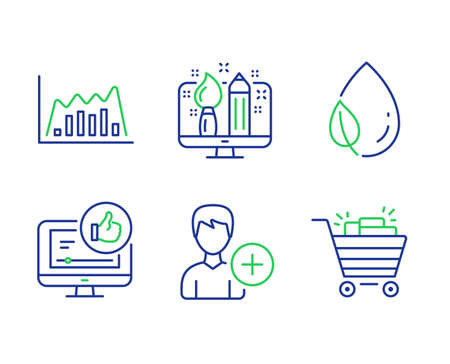 Leaf dew, Add person and Creative design line icons set. Like video, Infographic graph and Shopping cart signs. Water drop, Edit user data, Designer. Thumbs up. Business set. Vector
