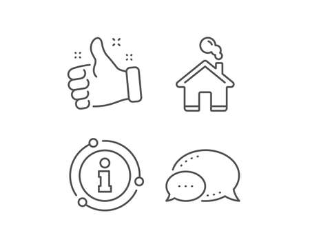 Home line icon. Chat bubble, info sign elements. House sign. Building or Homepage symbol. Linear home outline icon. Information bubble. Vector 向量圖像