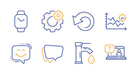 Recovery data, Cogwheel and Smartwatch line icons set. Speech bubble, Seo analysis and Tap water signs. Smile chat, Faq symbols. Backup info, Engineering tool. Technology set. Vector