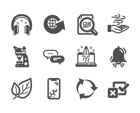 Set of Business icons, such as Check article, Recycle, Start business, Headphones, World globe, Smartphone broken, Dots message, Microscope, Wind energy, Checkbox, Leaf, Clock bell. Vector