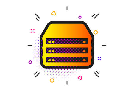 PC component sign. Halftone circles pattern. Servers icon. Big data storage symbol. Classic flat servers icon. Vector Vektorgrafik