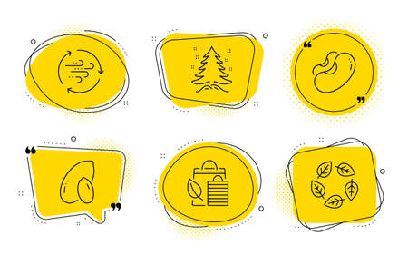 Wind energy, Christmas tree and Organic tested signs. Chat bubbles. Bio shopping, Beans and Peanut line icons set. Leaf, Vegetarian seed, Vegetarian nut. Breeze power. Nature set. Vector Archivio Fotografico - 136209430