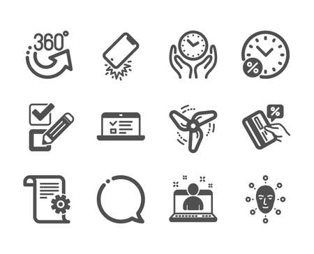 Set of Technology icons, such as Best manager, Speech bubble, Face biometrics, Credit card, Web lectures, Checkbox, Loan percent, Wind energy, 360 degrees, Technical documentation. Vector