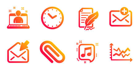 Time, Paper clip and Feather signature line icons set. New mail, Musical note and Best manager signs. Open mail, Diagram chart symbols. Clock, Attach paperclip. Education set. Vector