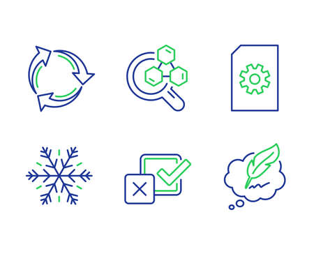 File management, Checkbox and Air conditioning line icons set. Recycle, Chemistry lab and Copyright chat signs. Doc with cogwheel, Survey choice, Snowflake. Recycling waste. Technology set. Vector