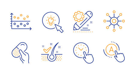 Time management, Project edit and Capsule pill line icons set. Multichannel, Dot plot and Energy signs. Anti-dandruff flakes, Ab testing symbols. Office clock, Settings. Science set. Vector Ilustracja
