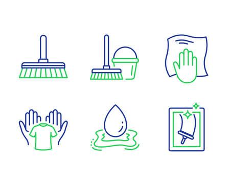 Vadrouille de nettoyage, éclaboussures d'eau et ensemble d'icônes de ligne de chiffon de lavage. Tenez un t-shirt, un seau avec une vadrouille et des panneaux de nettoyage de vitres. Balayer un sol, Aqua drop, Essuyer avec un chiffon. Chemise à linge. Ensemble de nettoyage. Vecteur Vecteurs