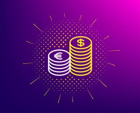 Coins money line icon. Halftone pattern. Banking currency sign. Euro and Dollar Cash symbols. Gradient background. Currency line icon. Yellow halftone pattern. Vector