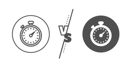 Stopwatch symbol. Versus concept. Timer line icon. Time management sign. Line vs classic timer icon. Vector