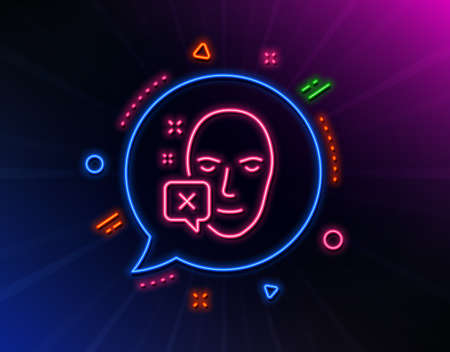 Face declined line icon. Neon laser lights. Human profile sign. Facial identification error symbol. Glow laser speech bubble. Neon lights chat bubble. Banner badge with face declined icon. Vector