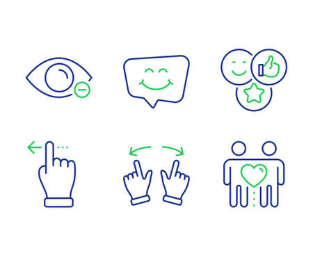 Like, Move gesture and Touchscreen gesture line icons set. Smile chat, Myopia and Friends couple signs. Social media likes, Swipe, Slide left. Happy face. People set. Line like outline icons. Vector