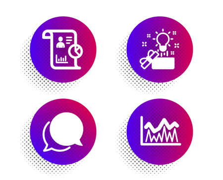 Chat message, Report and Creative idea icons simple set. Halftone dots button. Investment sign. Speech bubble, Work statistics, Present box. Economic statistics. Education set. Vector