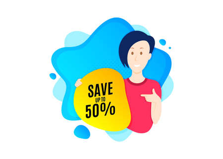 Save up to 50%. Cut out people badge. Discount Sale offer price sign. Special offer symbol. Dynamic shape offer. Discount text. Cut out people dynamic banner. Worker person badge. Vector
