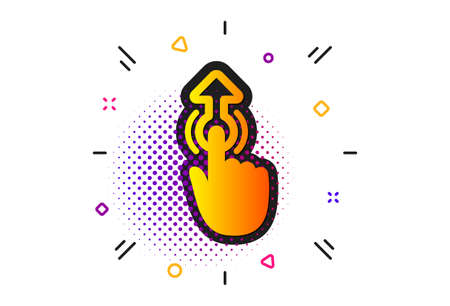 Move finger sign. Halftone circles pattern. Swipe up icon. Touch technology symbol. Classic flat swipe up icon. Vector