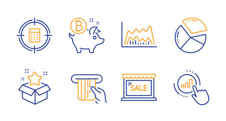 Pie chart, Loyalty program and Calculator target line icons set. Bitcoin coin, Trade chart and Sale signs. Credit card symbol. Presentation graph, Bonus star. Finance set. Line pie chart icon. Vector
