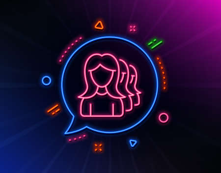 Group of Women line icon. Neon laser lights. Human communication symbol. Teamwork sign. Glow laser speech bubble. Neon lights chat bubble. Banner badge with women Headhunting icon. Vector Illustration