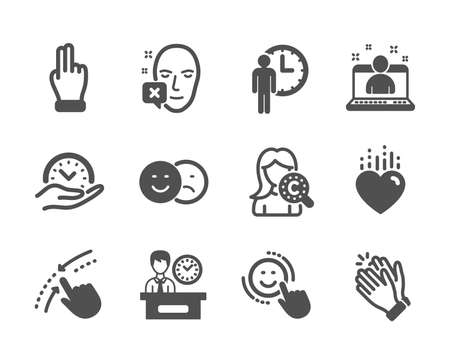 Set of People icons, such as Best manager, Heart, Waiting, Smile, Face declined, Presentation time, Clapping hands, Safe time, Collagen skin, Like, Swipe up, Click hand classic icons. Vector
