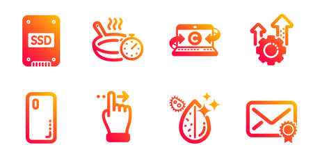 Seo gear, Frying pan and Dirty water line icons set. Copywriting notebook, Ssd and Touchscreen gesture signs. Smartphone cover, Verified mail symbols. Cogwheel, Cooking timer. Technology set. Vector Illustration