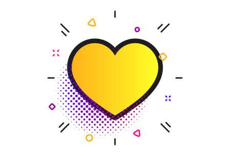 Love icon. Halftone dots pattern. Heart sign symbol. Classic flat heart icon. Vector 일러스트
