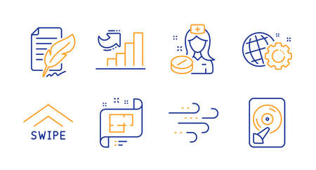 Growth chart, Windy weather and Nurse line icons set. Seo gear, Feather signature and Architectural plan signs. Swipe up, Hdd symbols. Diagram graph, Wind. Science set. Line growth chart icon. Vector